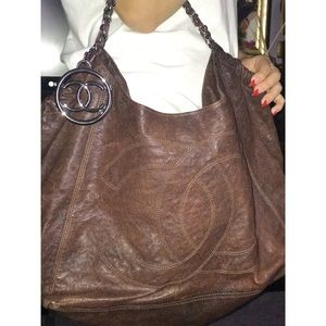 Chanel Caviar skin tote chocolate brown purse